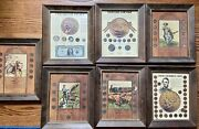 7 Framed Rare 90 Silver Coins Collection Buffalo Mercury Certificate Shards Wow