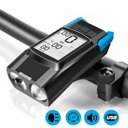Bicycle Headlight Set Usb Rechargeable Speedometer Horn Led Bike Cycling Lamp