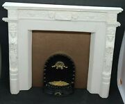 Miniature Ornate Cast Resin Plaster Mansion Fireplace Dollhouse W/glowing Embers