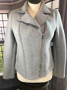 Old Navy L Light Gray Moto Jacket Zip Up Collared Casual Lightweight