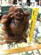 12 Large Hand Carved Wooden Laughing Smiling Buddha Happy Statue Sculpture Wood