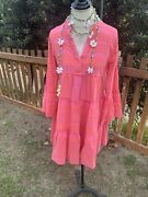 Anthropologie Petra Embroidered Tunic Pink Dress Size Xs By Devotion