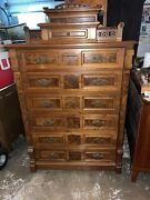 Fabulous Burl Walnut Victorian Tall Lockside Chest W Fancy Carved Gallery And Desk