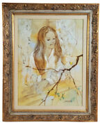 William Benecke Girl Original Oil Painting On Canvas Signed And Framed W/ Coa