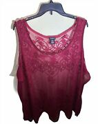Torrid 4x Plus Size Red Crochet And Lace Boho Sheer Tank Top Sleeveless Blouse