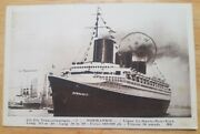 Normandie French Bow View From Port Side - 1937 Ss Manhattan In Background