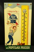 1960and039s Pabst Blue Ribbon Beer Gay 90and039s Strong Man Strength Tester Thermometer