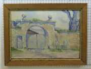 Antique Painting To Oil On Board Handcrafted A Spatula View For Mj Lecoultre X12