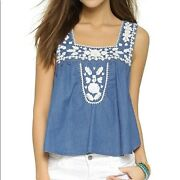 Lovers + Friends Chambray Embroidered Dream Catcher Tank Top Sz Medium M Revolve