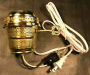 Brass Electric Burner 3-way With Bottom Nite Lite And White Cord For Aladdin Lamps