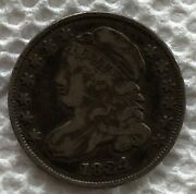 1834 Capped Bust Dime Mostly Silver Circulated But Nice Details