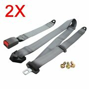 2pc For Vxxx Car Auto Vehicle 3 Point Fixed Safe Strap Safety Seat Belt Grey