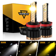 2x Auxbeam H8 H11 3-color In 1 White Amber Led Csp Fog Light Bulbs 20w 4000lm