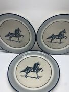 3 Anchor Hocking Stoneware Salad Plates Seascape With Horse - Hard To Find