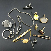 Ten Assorted Pieces Of Mixed Gold/silver Tone Jewelry/trinkets Junk Drawer Lot