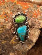 New Chimney Butte Sterling Silver Gaspeite Turquoise Ring Size 8.5 Large Navajo