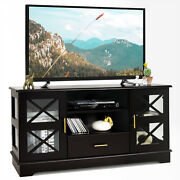 Costway Glass Door Tv Console Table W/ Drawer Storage Shelves Brown