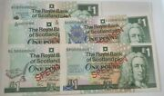 Specimen Royal Bank Of Scotland Andpound1 Banknotes- 5 Different Versions Uncirculated