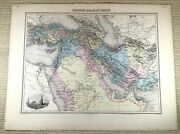 1903 Antique Map Of Turkey Persia Middle East Arabia Old Hand Coloured Engraving