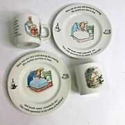 Lot Peter Rabbit Wedgwood England 1991-1993 Cup, 2 Saucers And Oval Penny Bank