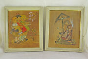 Two Old Paintings Signed For Children With Characters On Pencil Colour Board X12