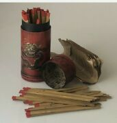 Antiques Chinese Fortune Sticks In Sign Lottery Case Dragon Phoenix Box
