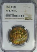 1958-d 50c Ngc Ms67fbl Ngc Star Franklin Beautiful Multi-colored Gem