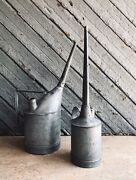 Set Of 2 Antique Galvanized Santa Fe A.t. And S. F. Railroad Oil Cans