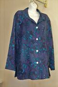 Chicos 3 Xl 1x Silk Embroidery Ls Tunic Jacket Button Womens Lined Collar Leaves