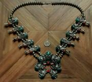 Vintage Navajo Indian Squash Blossom Necklace Turquoise Red Coral Sterling 205g