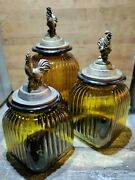 Euc Lot Of 3 Amber Glass Ribbed Canisters With Rooster Lids Set Flour Sugar