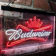 Zusme Budweisers King Beer Bar Novelty Led Neon Sign White + Red W24 X H16