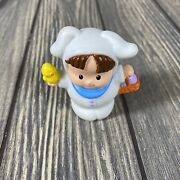 Vintage Little People Easter Bunny Boy Dressed Up Figurine With Duck And Basket