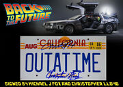 Back To The Future Signed Michael J Fox And Christopher Lloyd Number Plate Mounted