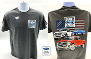 Ford Trucks T-shirt W/ American Flag And Built Ford Tough Logo - Licensed