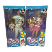 2 - New The Heart Family Visits Disneyland Dad Boy Mom Girl Dolls Nrfb In Boxes