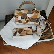 Coach Tilly Top Handle Mixed Patchwork Chalk Multi Leather Satchel And Wallet