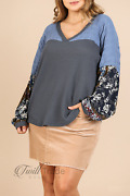 Umgee | Charcoal Floral Puff Sleeve Waffle Knit Crinkle Shoulder Plus Top Nwt