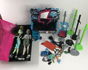 Monster High Accessories Lot And Dolls Furniture Coffin Brush Shoes Clothes