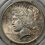 1934-s Peace Dollar Pcgs Au-58 - Great Luster And Pretty Toning