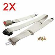 2pc For Vxxx Car Auto Vehicle 3 Point Fixed Safe Strap Safety Seat Belt Beige