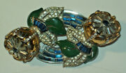 Vtg Coro Adolph Katz Jeweled Tremblant Camelia Brooch Duette Pin/brooch