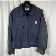 Vintage 1940s Chain Stiched Beaverton Fire Dept. Jacket Patched W/ Org Badge