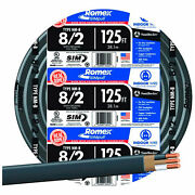 Romex Simpull And174 Cable With Ground Black 8/2 Awg 125 Ft