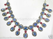 12.10ct Rose Cut Diamond Antique Look 925 Silver Ruby Sapphire Gemstone Necklace
