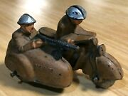 Vintage Military Motorcycle Toy With Sidecar Gunner Collectible Auburn Rubber