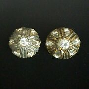 2 Large Antique Buttons Gold Silver White Teardrop Art Glass Jewels Domed 5632