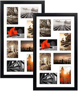 Qutrey 4x6 Black Collage Picture Frames Set Of 2, 8 Openings Matted Collage Fram