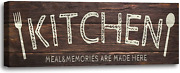 Vintage Kitchen Sign Wall Decor Canvas Print Sign Wood Background Patterned Rus