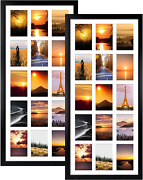 Mebrudy 2 Pack 4x6 Collage Picture Frames With 15 Openings, Multi Black Photo Fr